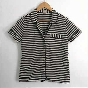 J Crew striped button down top, size small